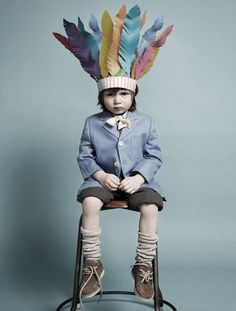 Little Red Indian.   Kids and Paper Art by Fideli Sundqvist Shot by Maria Wretblad for Papier Mâché