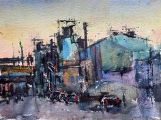 """KEN KARLIC on Instagram: """"A bit of a cityscape... Watercolor, 11x15in - - - - - #watercolor #watercolorpainting #cityscape #danielsmithwatercolors #landscape…"""" Watercolor Paintings, Industrial, Landscape, Instagram, Water Colors, Scenery, Landscape Paintings, Landscaping, Watercolour Paintings"""