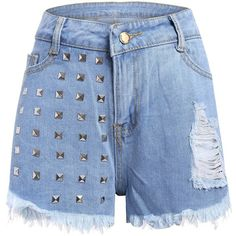 Studed Frayed Denim Shorts Light Blue ($19) ❤ liked on Polyvore featuring shorts, frayed jean shorts, short jean shorts, light blue denim shorts, frayed denim shorts and frayed shorts