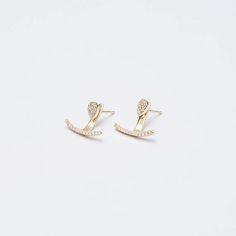 Gold ear jacket  gold earrings  dainty ear jacket  ear