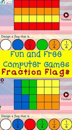 The Elementary Math Maniac: Fun and Free Computer Games: Fraction Flags - Okollo Fraction Activities, Math Games, Math Activities, Fun Games, Fraction Games For Kids, Online Games, Kids Learning Computer, Computer Games For Kids, School