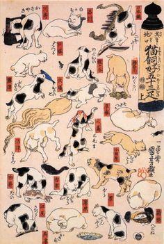 歌川国芳 『其のまま地口猫飼好五十三疋』  上(右)