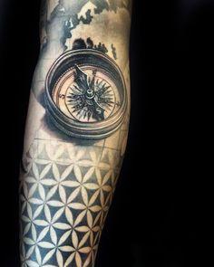 Compass 3d Männliche Blume des Lebens Unterarm- Sleeve Tattoos