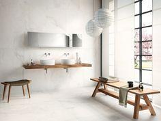 Porcelain stoneware wall/floor tiles with stone effect CALACATTA WHITE Edilgres StoneLab Collection by Edilgres