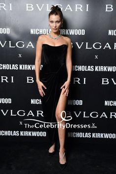 3309ac719501 Bella Hadid Black Velvet Strapless Thigh-high Slit Evening Dress Milan  Fashion Week TCD7732