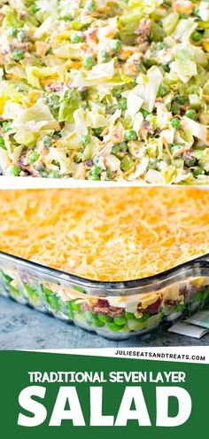 A perfect make-ahead salad or side dish this Traditional Seven Layer Salad is perfect for potlucks and holidays This classic recipe has chopped lettuce peas celery onions bacon cheese mayonnaise and sugar Lettuce Salad Recipes, Healthy Salad Recipes, Fruit Salad, Arugula Salad, Romaine Salad, Carrot Salad, Vegan Recipes, Quinoa Salad, Simple Salad Recipes