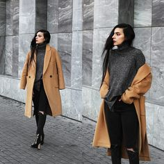 Holynights Claudia - Shein Turtleneck Sweater, Frontrowshop Coat, Ego Boots - Camel and dark grey