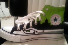 seahawks handpainted converse shoes by wendybusch22 on Etsy, $140.00