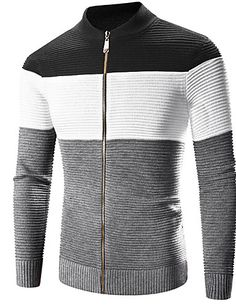 Men's Casual/Daily Active Regular Cardigan,Solid Color Block Black Stand Long Sleeve Cotton Polyester Spring Medium Micro-elastic