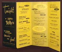 MENU - CHICAGO - MISTER KELLY'S RESTAURANT AND NIGHT CLUB - 1950s