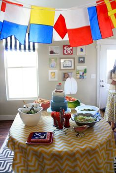 Nautical Party - flags make out of scrapbook paper
