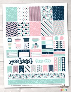 Pink and Blue Printable Planner Stickers Weekly Kit – Instant Download PDF for your Erin Condren Life Planner