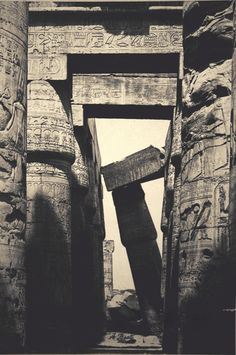Hall of Columns, Temple of Karnack, Thebes, Egypt, by Antonio Beato. ca. 1860s.