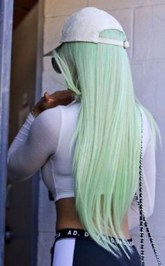Blue Wigs Lace Hair Lace Frontal Wigs Ombre Lace Front Wig Short Straight Wigs Best Wigs For Women Frontal Hairstyles, Wig Hairstyles, Straight Hairstyles, Green Wig, Blue Wig, Hair Color Pink, Cool Hair Color, Pastel Green Hair, Two Color Hair