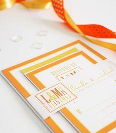 Yellow and orange wedding invitation set