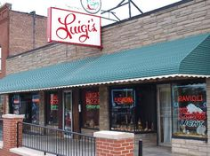 Luigi's Akron, Ohio. Famous for their Tossed Salads with Cheese, their homemade salad dressing and their White Pizza.
