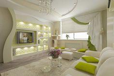 Un salon avec un plafond