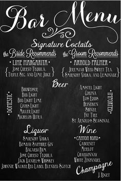 Custom Wedding Bar Menu Chalkboards. I like the idea of chalkboards everywhere...