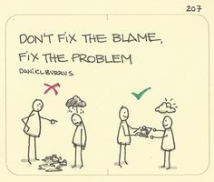 Don't focus on whose fault it is and don't shame, instead collaborate for a solution. - Don't fix the blame, fix the problem. A little nugget of wisdom from a book I read long ago called Technotrends by Daniel Burrus. Work Quotes, Life Quotes, Behavioral Economics, Change Management, Knowledge Management, Critical Thinking, Blame, Self Help, Cool Words