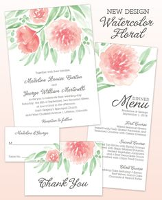 Watercolor Floral Wedding Invitation Suite