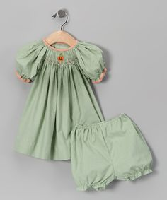 Take a look at this Green Gingham Pumpkin Bishop Dress & Bloomers - Infant on zulily today!