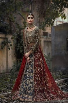Regal Green and Red Lehenga - Overlay Choli Asian Bridal Dresses, Pakistani Wedding Outfits, Pakistani Wedding Dresses, Bridal Outfits, Indian Dresses, Indian Outfits, Wedding Hijab, Asian Bridal Wear, Pakistani Bridal Couture