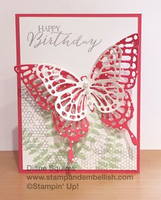Stampin UP! Butterfly Basics Stamp Set and Dies Bundle. Birthday Cards For Women, Handmade Birthday Cards, Happy Birthday Cards, Greeting Cards Handmade, Stampin Up Karten, Stamping Up Cards, Some Cards, Butterfly Cards, Romantic Ideas