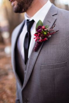 Orchid, dahlia, astilbe and seeded eucalyptus boutonniere. Finished off with velvet ribbon. (Flowers by Daisy's Front Porch) (Picture by Sweet Like Pie)