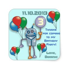Shop Cute Glossy Robot Personalized Party Stickers created by goodmoments. Birthday Love, Birthday Parties, Hello Cute, Stickers Online, Different Shapes, Custom Stickers, Robot, Activities For Kids, Diy Projects