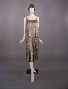 gold and silver lamé tunic-style evening dress stocked by Murielle's of Sauchiehall Street, c 1924