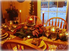 Gold and Brown Christmas Tablescape by dining delight, via Flickr