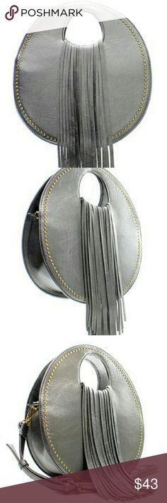Handbag Gorgeous Pewter faux leather fringe design fashion handbag with adjustable shoulder strap inside zipper pocket & open pockets backside zipper pocket Bags Shoulder Bags