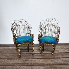 Whimsical Vintage Tin Can  Miniature Doll Chairs  $26.00