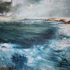 Stewart Edmondson 'And the Waves Come, Thurlestone' Acrylic on Paper 74 x 74 cm