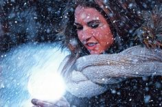 Woman with Magical Lighting Ball in Winter 2 - Amazing Royalty-Free Pictures at Great Prices