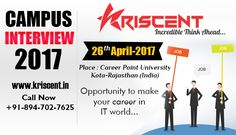 Attention!!! Kriscent is organizing a open campus recruitment drive in career Point University Kota Rajastha. For more details visit our web