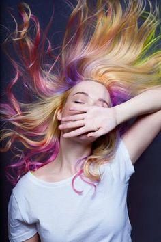 Rainbow Hair Creative Head Magazine. Model/photography Daryna Barykina. Hair color - Cameron Lesiege for Paul mitchell