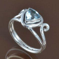 HOT SELLING 925 STERLING SILVER Blue Topaz LATEST RING 4.36g R9532 SZ-9 #Handmade #Ring