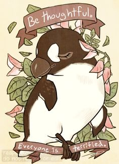 reminder series: bleak yet comforting thoughts. i specifically chose animals that are (or believed to be) extinct due to human influence: thylacine, great auk, baiji, west african black rhino, golden. Kawaii, Animal Drawings, Art Drawings, Wallpaper Telephone, Great Auk, Animal Quotes, Cute Illustration, Bunt, Cute Art