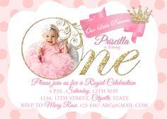 Fairytale party invitation pink gold princess girl birthday princess invitation printable digital file pink invites girl birthday party first birthday 1st 2nd birthday royal gold glitter crown by littlepinkelephant03 filmwisefo