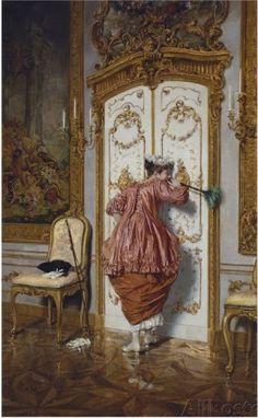 The curious maid, 1894, Giuseppe Brugo