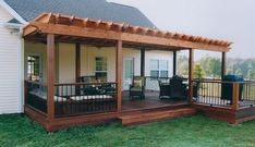 These free pergola plans will help you build that much needed structure in your backyard to give you shade, cover your hot tub, or simply define an outdoor space into something special. Building a pergola can be a simple to… Continue Reading → Backyard Patio Designs, Backyard Pergola, Pergola Designs, Backyard Landscaping, Deck Patio, Deck With Pergola, Backyard Porch Ideas, Wood Patio, Landscaping Ideas