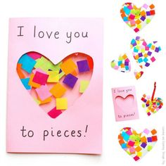 I Love you to Pieces suncatcher card to make for Valentines Day or Mothers Day. A super cute I Love you to Pieces suncatcher card to make for Valentines Day or Mothers Day. Easy Mother's Day Crafts, Mothers Day Crafts For Kids, Diy Mothers Day Gifts, Spring Crafts For Kids, Fathers Day Crafts, Crafts For Kids To Make, Valentine Day Crafts, Kid Crafts, Valentine Theme
