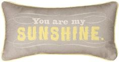 Manual Woodworkers and Weavers Reversible Throw Pillow, You Are My Sunshine, 17 by 9-Inch