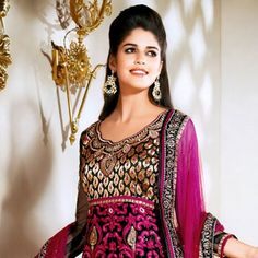 Black and Dark Pink Net Churidar Kameez