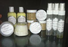 Algunas de mis creaciones. Some of my creations. Lotions, scrubs, facial mask, glycerin soaps, body splash.