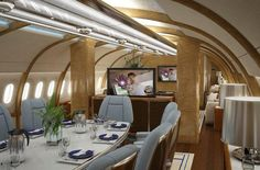 """Boeing 787 Dreamliner VIP Jumbo Jet. I just think it's ironic that """"Iron Man"""" is the in-flight entertainment."""