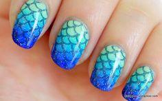 blue to aqua Mermaid #nail #tutorial