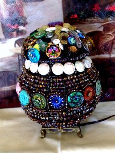Vintage-Antique-Czech-Crystal-Glass-Beaded-Button-Basket-Lamp-Lovely