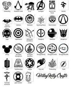 Fandom Decals Vinyl Decals Teens by WilleyNillyCrafts on Etsy Fandom Tattoos, Alphabet Symbols, Custom Headbands, Tatuagem Old School, Symbols And Meanings, Mini Tattoos, Symbolic Tattoos, Book Fandoms, Doodle Art